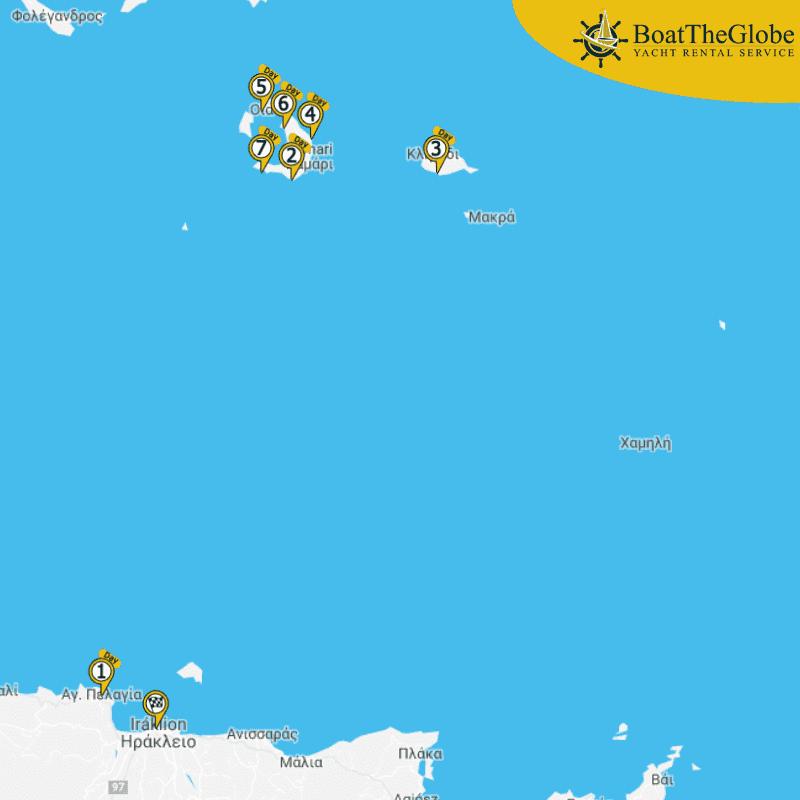 Katamarán útvonal Krétáról Santorini-re