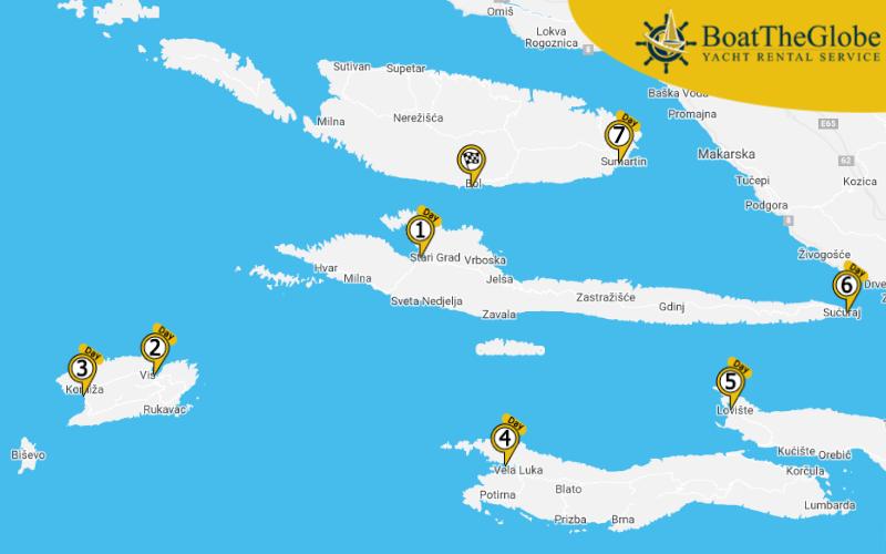 Brac-szigeti hajós útvonalterv