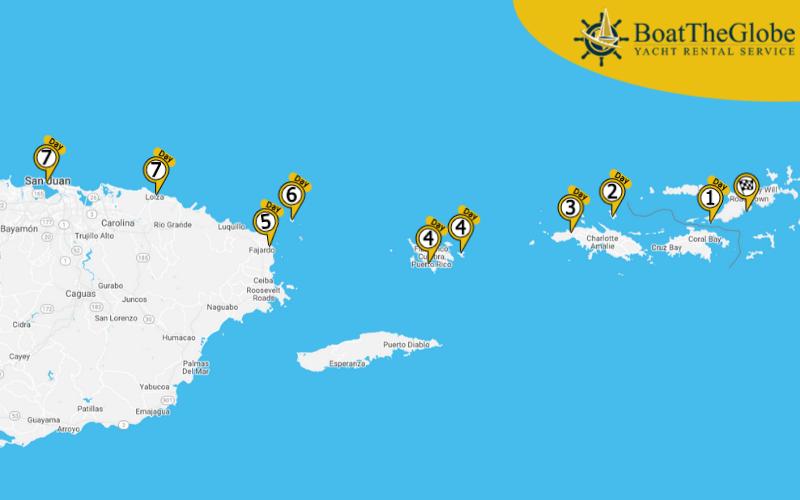 Vitorlázás a Brit Virgin-szigetekről Puerto Ricoba