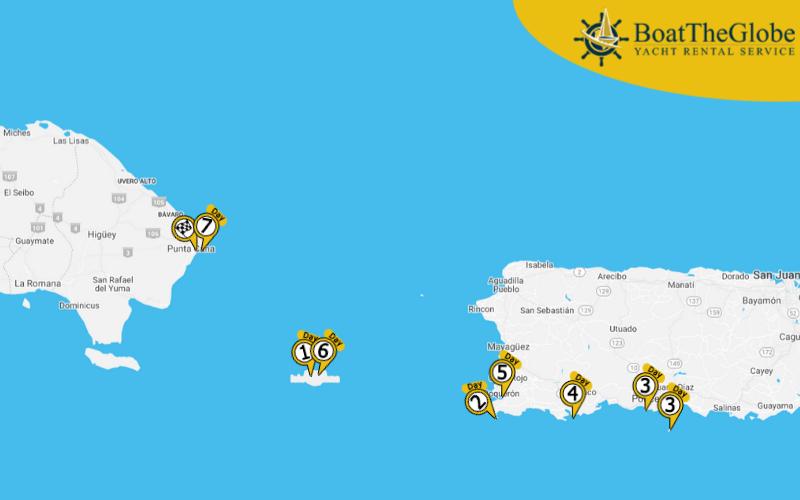 Puerto ricoi hajós útvonaltervező