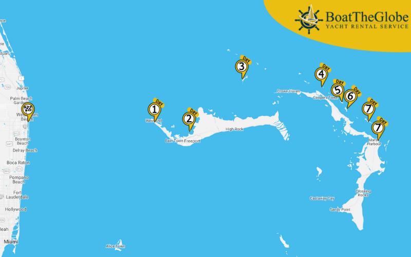 vitorlás útvonaltervező a Bahamákra