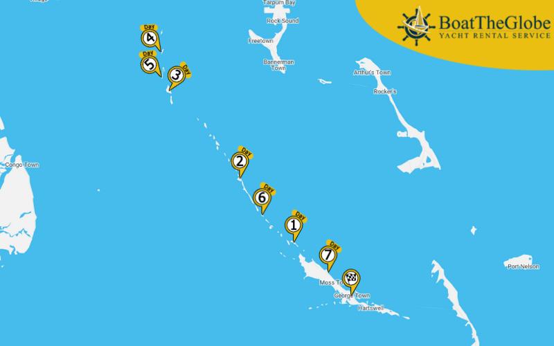 Hajós útvonaltervező az Exuma-szigeteken